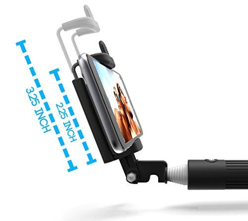 kiwii selfie stick with built in remote shutter with adjustable phone holder. Black Bedroom Furniture Sets. Home Design Ideas