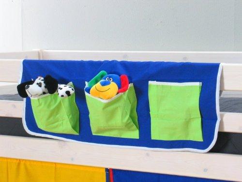 Thuka Stoff Hängetasche Organizer Aufbewahrung für Kinderbett Hochbett Bett blau