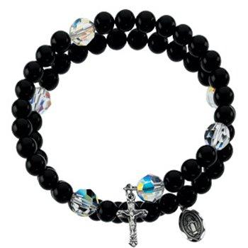 Black Onyx Wrap Rosary Bracelet