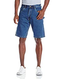 Key Apparel Men\'s Enzyme Washed Denim Dungaree Short, Indigo, 38