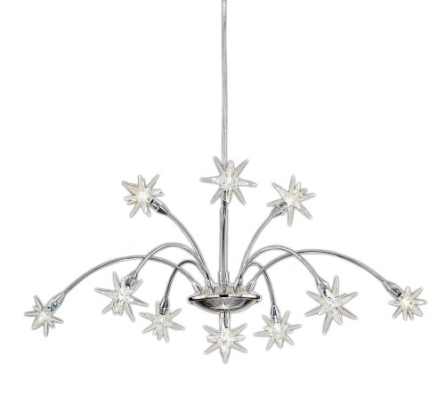 Stars Adjustable 10 Light Chrome Finish With Glass Shades 10X10 Watt Halogen Lamps