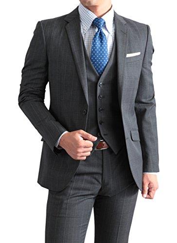 秋冬 家庭で洗えるパンツ 仕事 ビジネス 2ツボタン スリーピース スーツ ( ベスト付きスーツ ) チャコールグレー・ウィンドウペン 体型:AB体 6号