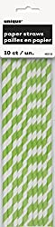 Lime Green Striped Paper Straws, 10ct