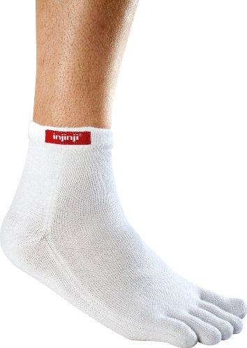 Injinji Performance Mini-Crew Toe Socks, White, Large