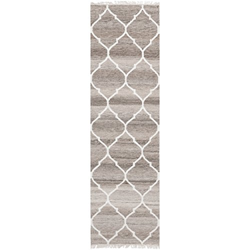 Safavieh Natural Kilim Collection NKM317A Hand Woven Light Grey and Ivory Wool Runner, 2 feet 3 inches by 6 feet (2'3
