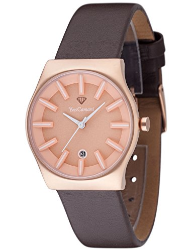 Yves Camani Louanne Women's Quartz Watch with Rose Gold Dial Analogue Display and Brown Leather Bracelet Yc1079-C