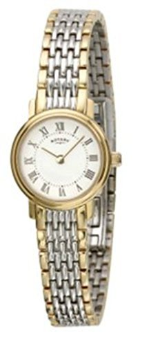 Ladies Rotary Stainless Steel Two Tone Bracelet Strap, Roman Numeral, Champagne Dial Watch LB77835/32