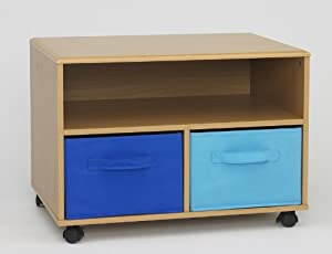 kid 39 s room tv stand with blue canvas foldable drawers. Black Bedroom Furniture Sets. Home Design Ideas