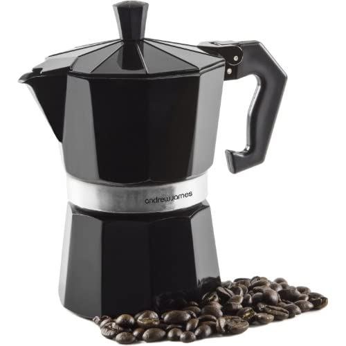 Andrew James 3 Cup Black Espresso Coffee Percolator In A Traditional Italian Style Design For Stove Tops - Includes...