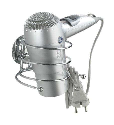 WENKO 18770100 Turbo-Loc porta asciugacapelli - fissaggio senza trapano, Acciaio, 14 x 7.5 x 11.5 cm, Cromo