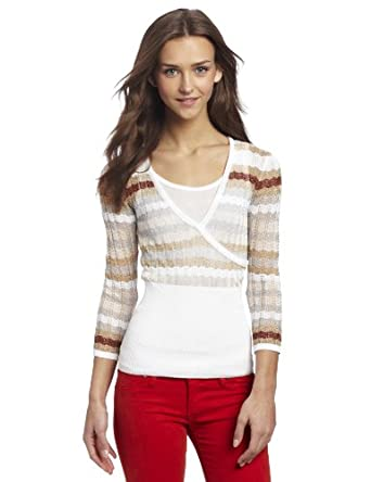 XOXO Juniors Flame Stitch Cross Front Sweater, White, Small