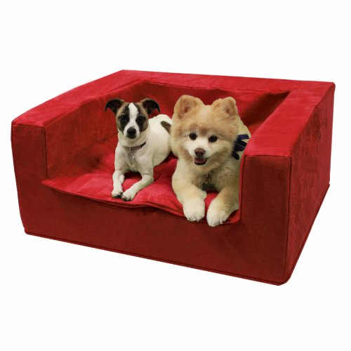 Best Friends by Sheri Luxury Sofa Suede Pet Bed, 27-1/2 by 31-1/2 by 14-Inch, Medium, Lipstick Red