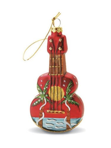 Island Heritage Ukulele Holiday Palm Collectible Glass Ornament