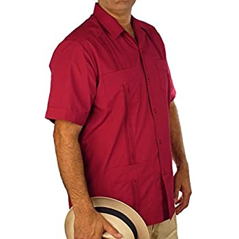 Basic Traditional Cotton Blend guayabera color burgundy.