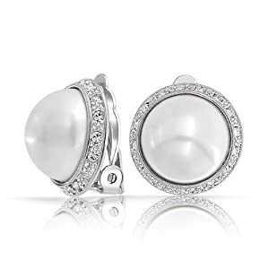 Bling Jewelry Pave Crystal Silver Tone White Dome Faux Pearl Clip On Earrings