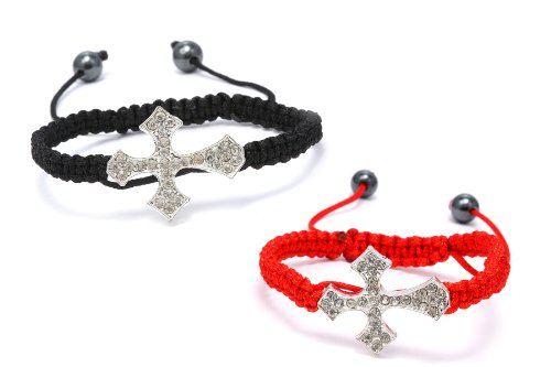 Authentic Diamond Color Crystals Tribal Design Cross 2 Adjustable Bracelets Color of the Thread Black and Red , Now At Our Lowest Price Ever but Only for a Limited Time!
