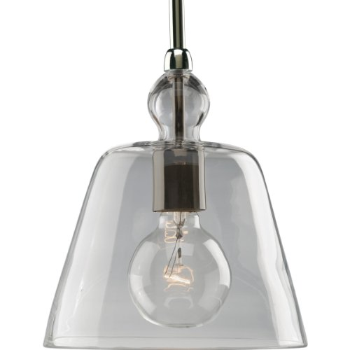 Progress Lighting P5184-104 1-Light Stem Hung Mini-Pendant with Clear Glass, Polished Nickel