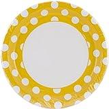 Unique Industries PKPLT9-37475 9-Inch Round Plate, Sunflower Yellow Decorative Dots, 8-Pack