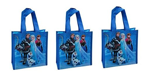 Disney Frozen Mini Non Woven Tote Bag Blue Group Picture x 3 Bags - 1