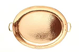 Old Dutch 15¿ x 11¿ Decor Copper Oval Tray w/Cast Brass Handle