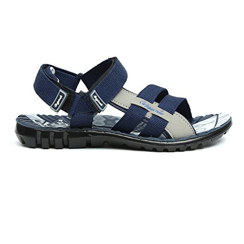3e844e8255871 Lee Cooper Men's Blue and Grey Sandals & Floaters