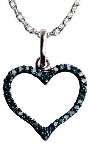 Sterling Silver Blue Diamond Heart Shape Pendant Necklace (1/5 cttw), 18