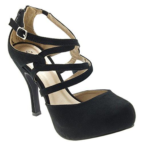 Qupid Womens 10-Trench184 Almond Toe Strappy Platform Stiletto High Heel Pumps, Black Faux Suede, 7.5 B (M) Us
