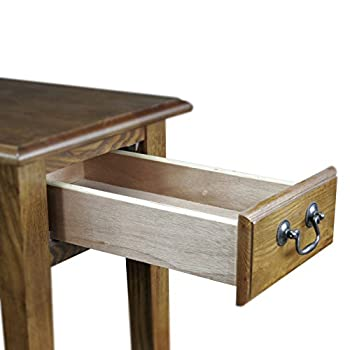Leick Chair Side Lamp End Table with Drawer, Medium Oak