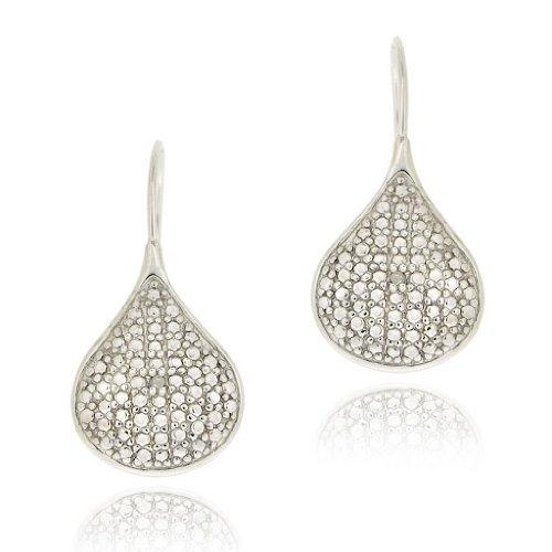 Sterling Silver Diamond Accent Teardrop Drop Earrings