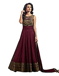 Best Amazone Dress Material Anarkali Type Women's Gown of Pure Georgette from spangel fashion (Marrun Color_Free Size)