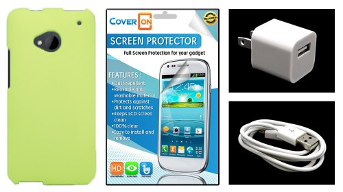 Coveron® Htc One M7 Hard Rubberized Slim Case Bundle With Clear Anti-Glare Lcd Screen Protector & White Micro Usb Data Cable & White Wall Charger Adapter - Neon Green