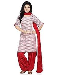 Utsav Fashion Women's White Cotton Readymade Kameez With Patiala-X-Small