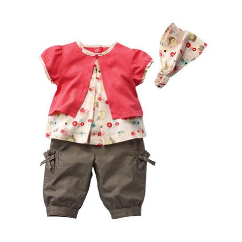 Urparcel Baby Girls T-shirt Shorts with Hat Fruits Pattern Outfits Sets 0-3y