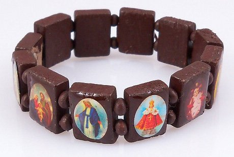 4030164 Saints Jesus Brown Bracelet Wooden with Beads Stretch