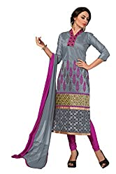 Shree Vardhman Grey Chanderi Straight Dress Material
