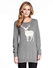 M&S Collection Pure Cashmere Reindeer Jumper MADE WITH SWAROVSKI® ELEMENTS