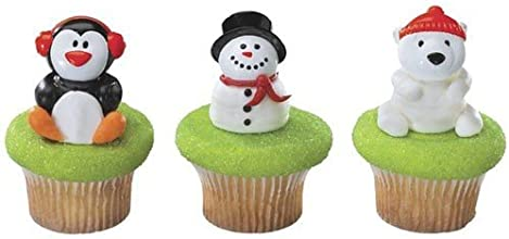 Christmas Party Holiday Friends Cupcake Rings Cake Toppers Favors 12