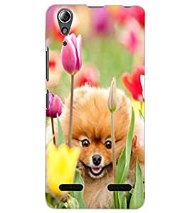 ColourCraft Cute Puppy Design Back Case Cover for LENOVO A6000 PLUS
