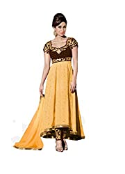 Yellow Georgette Embroidered Partywear Anarkali Suit