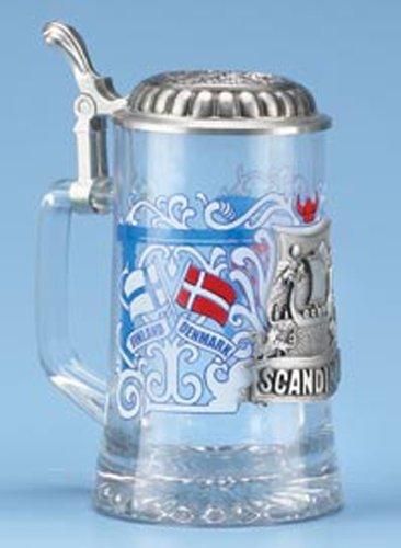 Scandinavia Finland Denmark Sweden Norway Glass Beer Stein w/ Pewter Viking Ship, Viking Helmet, German Collectible Beer Stein (Norwegian Beer compare prices)
