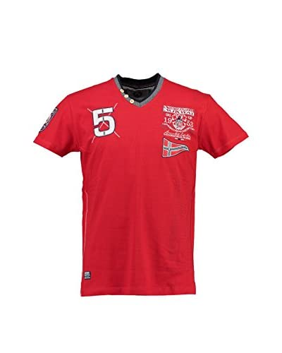 Geographical Norway T-Shirt Manica Corta [Rosso]