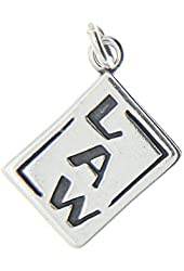 Sterling Silver Double Sided Criminal Justice Law Book Charm or Pendant