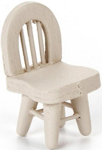 Darice Timeless Miniature Off White Wood Chair- 1.25 inches. Perfect for use in your Doll House Table, Art Project or Shadowbox. - 1