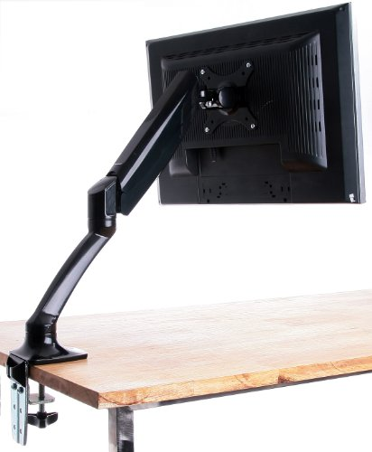 """Single Lcd Monitor Desktop Mount / Stand, Black Deluxe With Gas Spring For 1 Screen Up To 27"""", Model Stand-V001B By Vivo"""