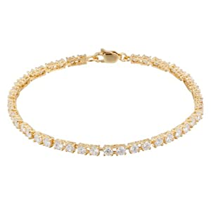 18k Yellow Gold Plated Sterling Silver Round Simulated Diamond Tennis Bracelet (4.5 cttw), 7.25