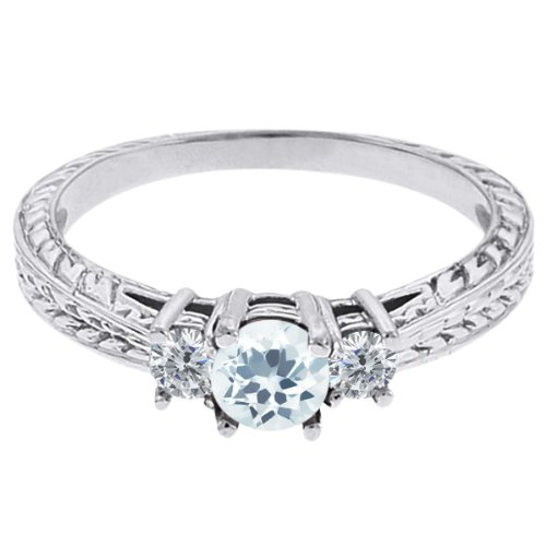 0.57 Ct Round Sky Blue Topaz G/H Diamond 14K White Gold 3-Stone Ring