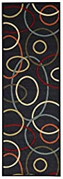 Custom Size Runner Coal Black Multicolor Oval Shapes Geometric Non-Slip (Non-Skid) Rubber Back Stair Hallway Rug by Feet 22 Inch Wide Select Your Length 22in X 9ft