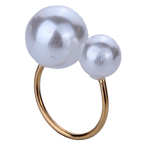 Yazilind Unique Design Vogue Simplicity Gold Plated Elongated Cuff U Ring With Pearl For Women