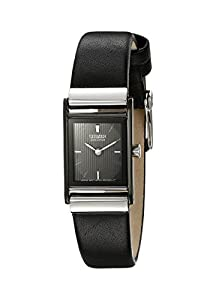 """Citizen Women's EW9215-01E """"Eco-Drive"""" Stainless Steel and Black Leather Watch"""