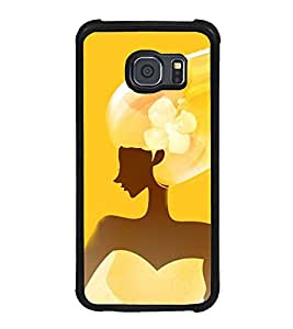 Fuson Premium 2D Back Case Cover Girl in yellow With Multi Background Degined For Samsung Galaxy S6::Samsung Galaxy S6 G920